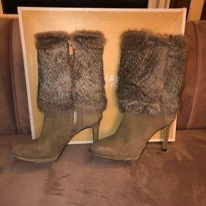 Gray Suede Michael Kors rabbit fur boots